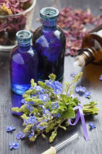 glass bottle of essential oil and blue healing flowers
