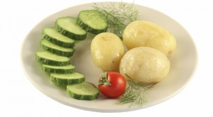 Plate with a potato.